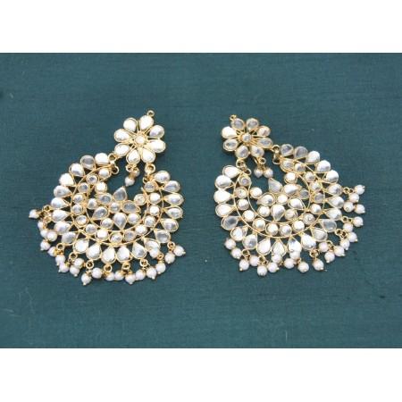 Floral Stud Chandbali Earrings with Pearls