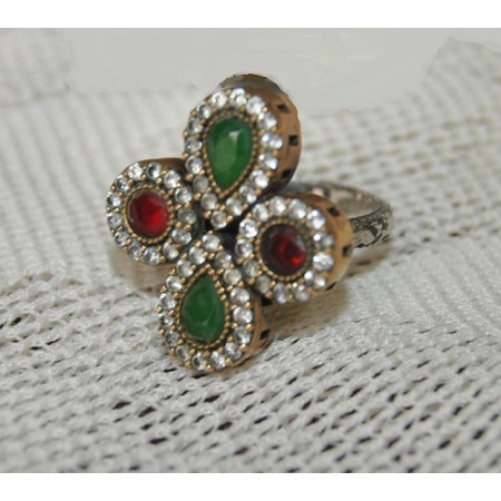 Ruby Emerald 92.5 Sterling Silver Ring