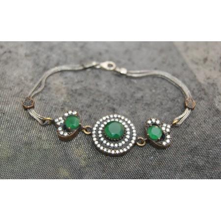 Turkish Silver Emerald Bracelet