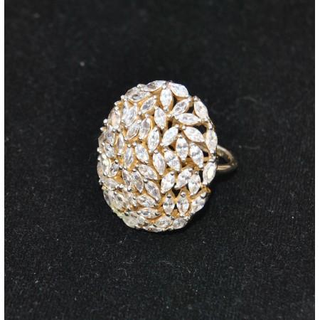 Oval Sparkling Diamond Ring