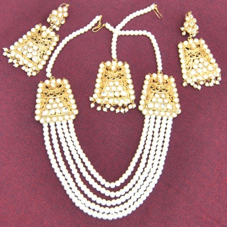 Multiple Pearl Chain Necklace Set