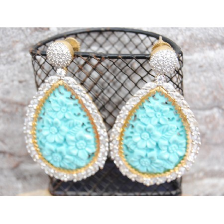 Blue Floral Carved AD Earrings