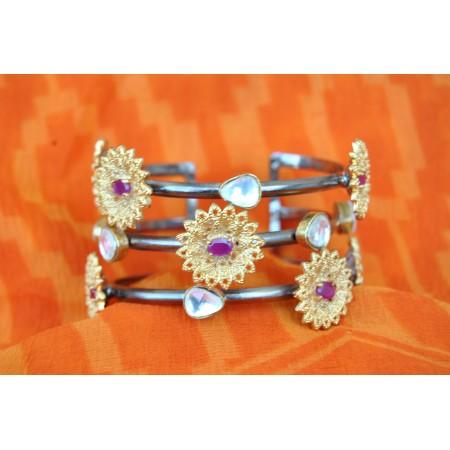 Floral Oxidised Cuff Bracelet with Kundan Stones