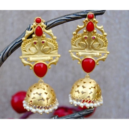 Gold Matte Red Onyx Swan Jhumka Earrings