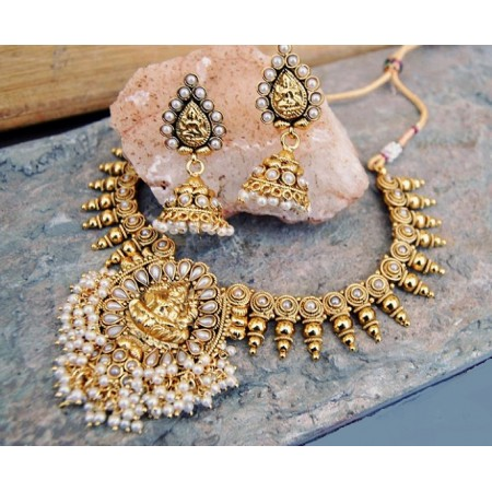Pearl Paan Temple Necklace Set with Jhumkas