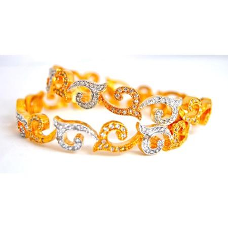 Deep Gold Diamond Bangles