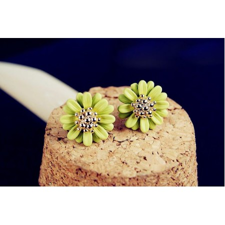 Daisy Green Gold Plated Stud Earrings