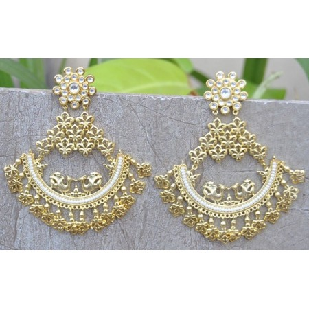 Peacock Gold Polki Studded Chand Bali Earrings